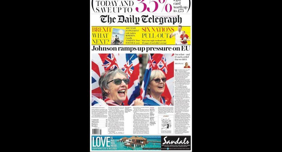 "The Daily Telegraph señala que ""(Boris) Johnson aumenta la presión en la UE"". (Daily Telegraph)"