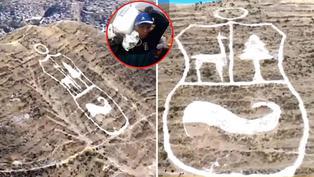 Cusco: Restauran imagen del escudo del Perú sobre cerro Arahuay
