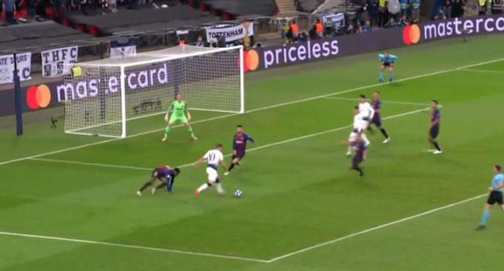 Harry Kane anotó el gol de descuento ante Barcelona. (Captura: YouTube)