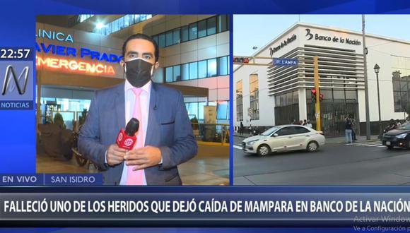 La Policía investiga la muerte de mujer tras ser impactada por fragmentos de vidrio en agencia del Banco de la Nación del Cercado de Lima. (Canal N)