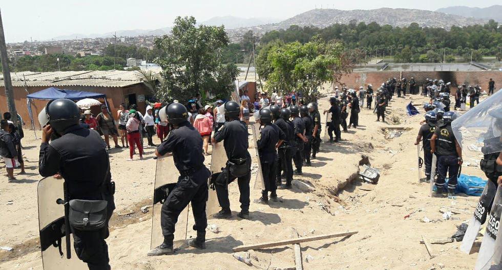 Los enfrentamientos entre la PNP y los manifestantes han dejado ocho serenos y tres invasores heridos