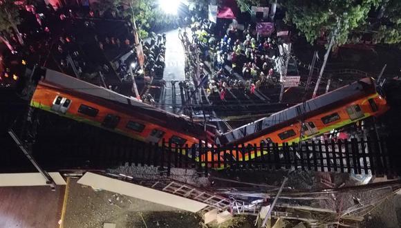 Vista general del colapso de unos vagones del metro la noche del 3 de mayo, en la Ciudad de México.  (Foto: EFE/ Sáshenka Gutiérrez)