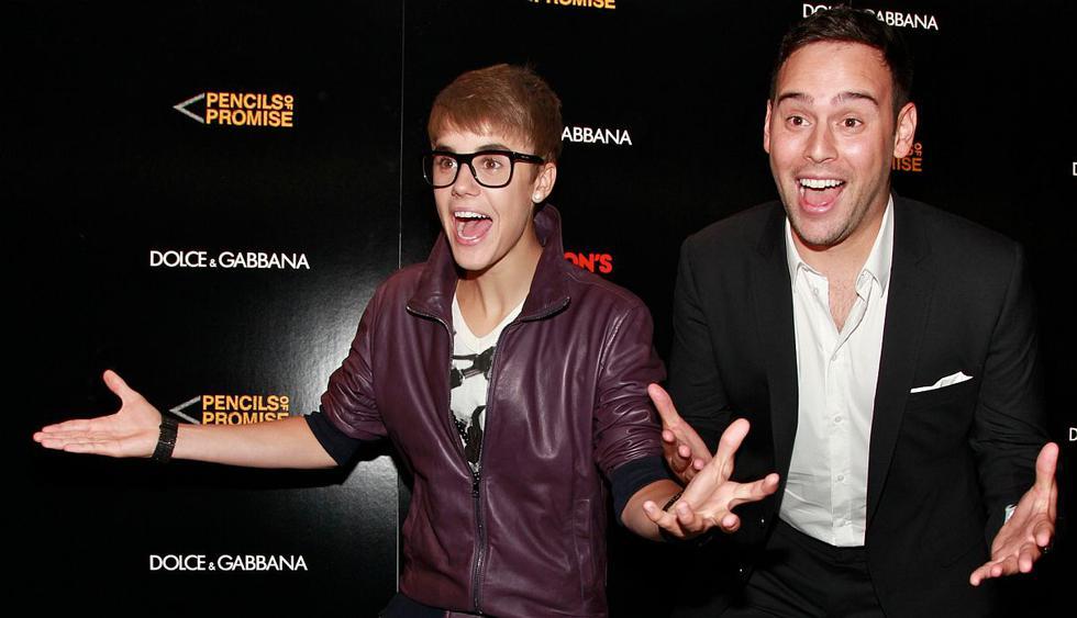 Justin Bieber reaparece en público junto a Scooter Braun tras la polémica con Taylor Swift. (Foto: AFP)