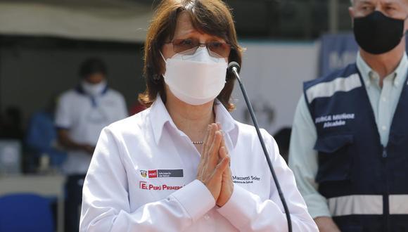 """La ministra de Salud, Pilar Mazzetti, apeló """"al sentido de solidaridad"""" de los manifestantes para que se permita el pase de los vehículos que están llevando el oxígeno por las diferentes carreteras que están bloqueadas. (GEC)"""