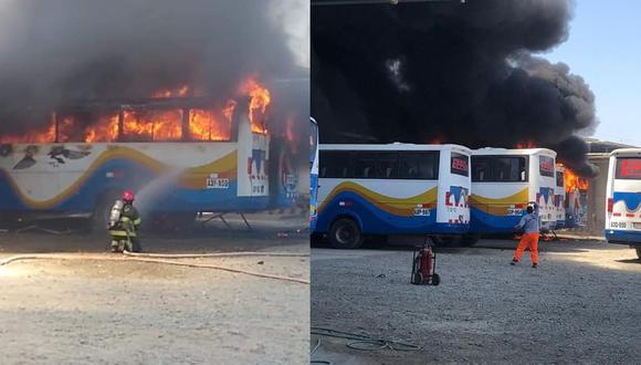 Piura: Incendio consume al menos dos buses en local de empresa de transportes (Foto: Facebook)