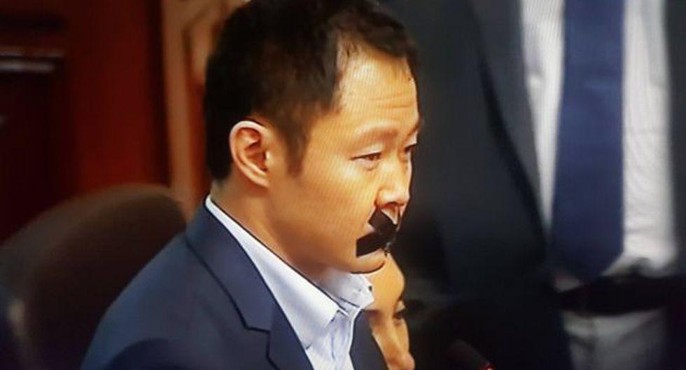 Kenji Fujimori llamó la atención esta mañana en el Congreso. (Captura de televisión)