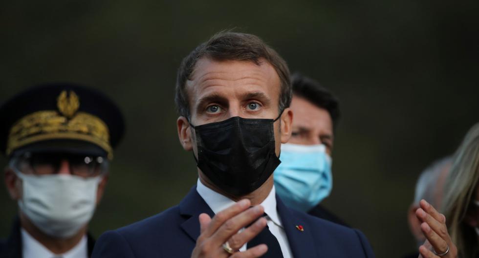 El presidente de Francia, Emmanuel Macron, pronuncia un discurso en Breil-sur-Roya, el 7 de octubre de 2020. (AFP / POOL / Daniel Cole).