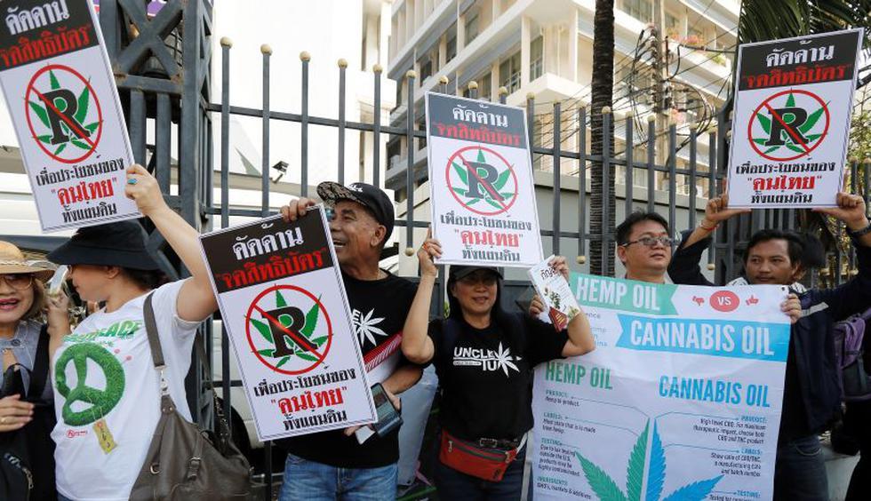 Grupos de activistas se movilizan en Tailandia para que las autoridades rechacen las patentes de cannabis para uso médico de empresas extranjeras. (Foto: EFE)