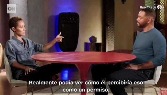 Jade Pinkett admite ante Will Smith que tuvo mantuvo un romance con joven rapero  (Foto: captura video CNN)