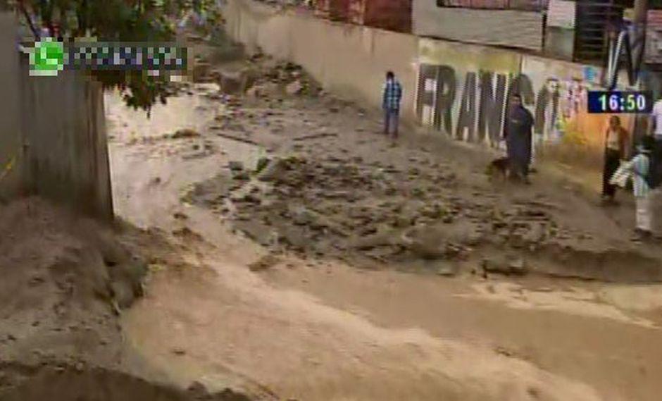 Huaico afecta la zona de Pedregal en Chosica. (Captura de TV)