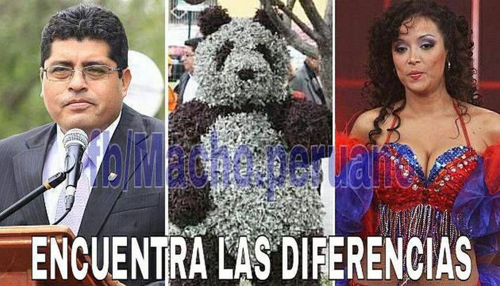 Como si fuera el argumento de una novela, el alcalde de Surco le regaló árbol en forma de oso a Zanetti. (Facebook: Macho peruano que se respeta)