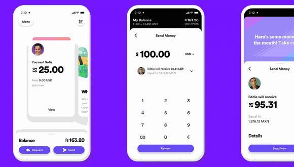 La interfaz para realizar transacciones financieras con Libra de Facebook. (Foto: Facebook)