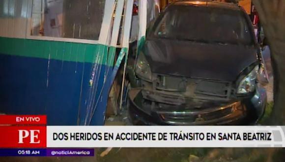 Dos heridos dejó un accidente vehicular esta madrugada. (Captura: América Noticias)