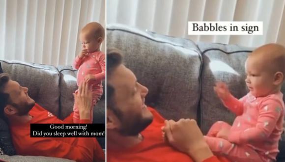 Bebé usa sus manitos para intentar comunicarse con su padre sordo. (Foto: @oursignedworld / TikTok)