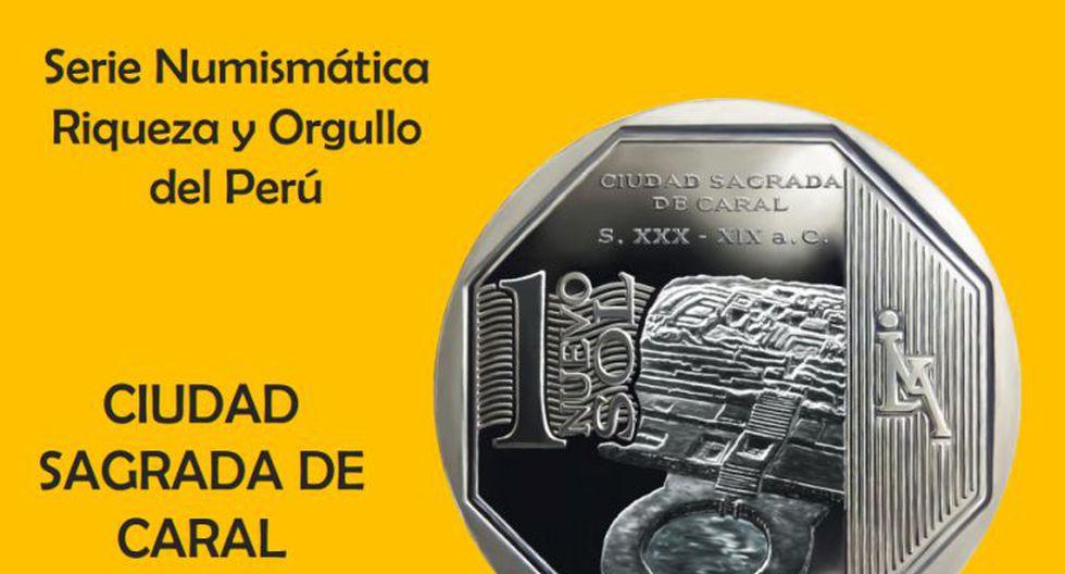 Moneda de S/.1 alusiva a la Ciudad Sagrada de Caral. (BCR)