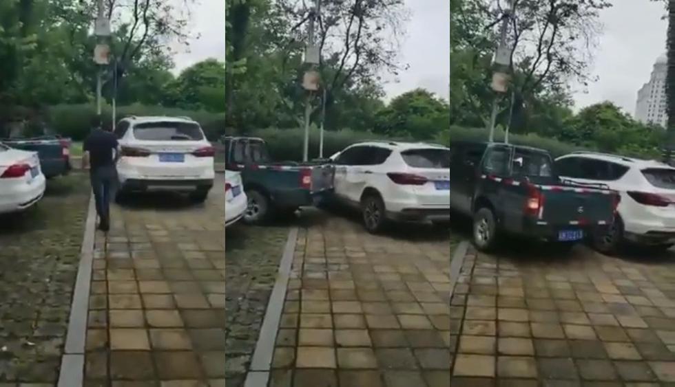 En México se volvió viral este extremo momento tras ser publicado como video en Facebook el momento extremo en el que un conductor choca a una camioneta que impedía la salida de su coche. (Foto: Captura)