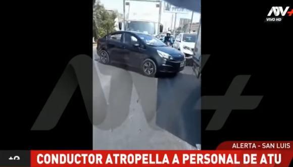 La Policía logró capturar al chofer del vehículo, Christian Banda, quien intentó darse a la fuga. Foto: captura ATV Noticias