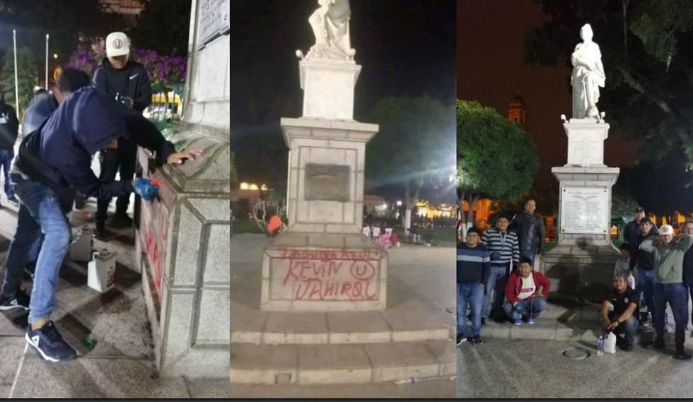Un mal hincha de Universitario pintó monumento de la Plaza de Armas de Piura. (Facebook)
