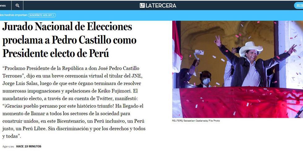 Después de declarar infundados los últimos recursos legales presentados por Keiko Fujimori, el Jurado Nacional de Elecciones (JNE) refrendó los resultados de la votación del 6 de junio, donde Pedro Castillo obtuvo la mayoría de votos. (Foto: La Tercera de Chile)