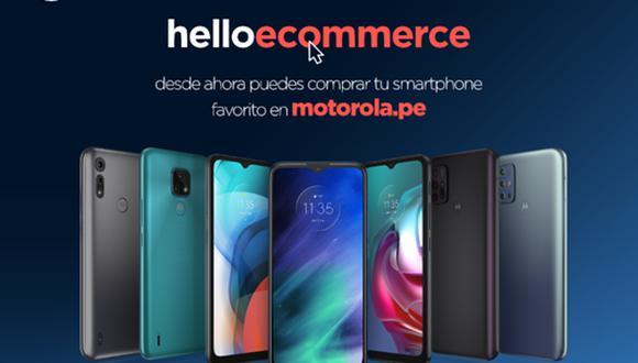 En la tienda online de Motorola, por el momento, están disponibles los modelos de  la familia moto e6i, moto e7, motorola one fusion, moto g20 y moto g30.