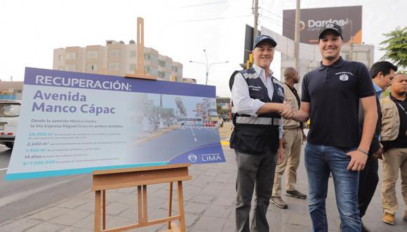 Alcalde Jorge Muñoz entregó a los vecinos de La Victoria las vías recuperadas de la avenida Manco Cápac. En la actividad también participó el burgomaestre de La Victoria, George Forsyth. (Foto: Difusión)