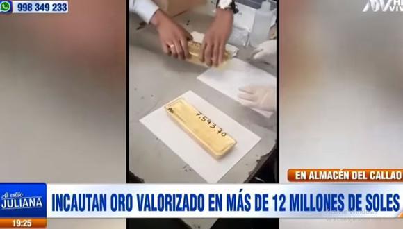 La Fiscalía de Extinción de Dominio ordenó la incautación de seis lingotes de oro y su traslado a la bóveda del Banco de la Nación. (ATV)