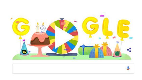 Google celebra sus 19 años con un doodle de ruleta de la fortuna (Google)