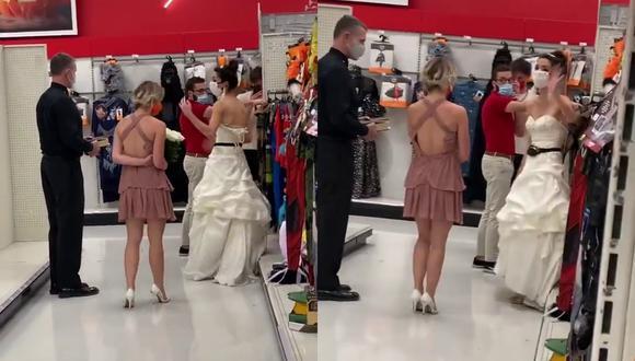 Un video viral muestra cómo una novia se metió al centro de labores de su prometido para exigirle que cumpla su palabra y casarse en ese mismo lugar. | Crédito: @boymom_ashley / TikTok.