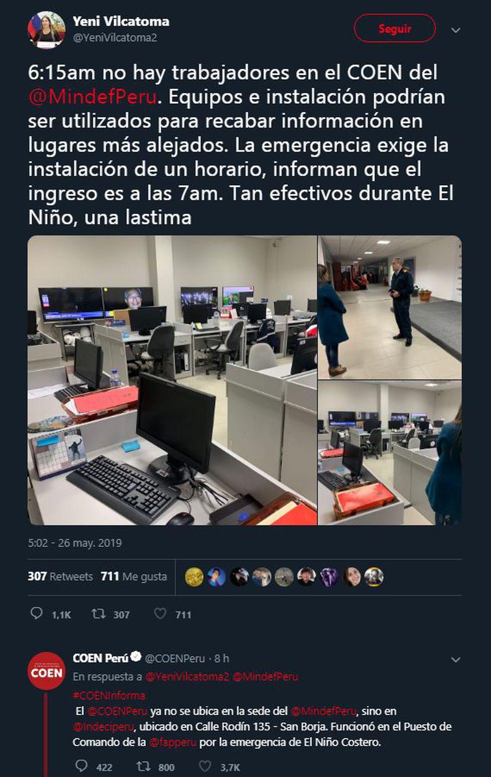 Terremoto en Loreto: Yeni Vilcatoma trató de descalificar al COEN pero fue corregida rápidamente. (Twitter)