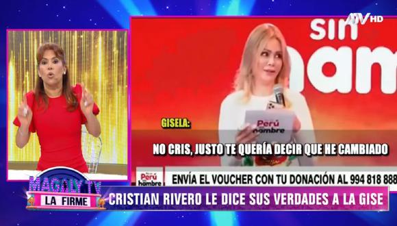 """Magaly Medina lanzó dura crítica a Gisela Valcárcel tras protagonizar tenso momento con Cristian Rivero en la Teletón digital """"Por un Perú sin hambre"""". (Video: ATV)"""