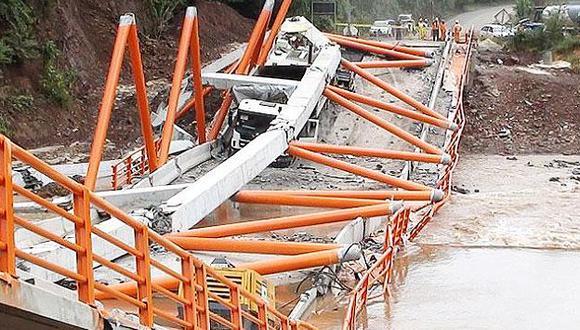 El puente tenía unos 82 metros de largo y 9 metros de ancho. (IIRSA Norte)