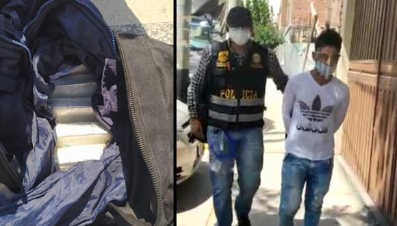 Arequipa: Agentes de la Areandro Arequipa detuvieron a Richard Janampa Rimache (21), quien llegó a la Ciudad Blanca procedente de Lima con más de 5 kilos de clorhidrato de cocaína. (Foto PNP)