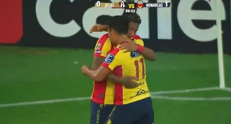 Ávila anotó el 1-0 para Morelia en duelo ante Atlas por el Apertura 2018 de Liga MX. (Captura: YouTube)
