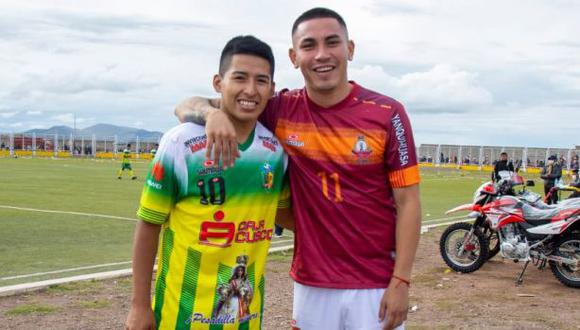 Jean Deza y Andy Polar, presente en un torneo de fútbol en Puno. (Foto: Municipalidad de Caracoto)