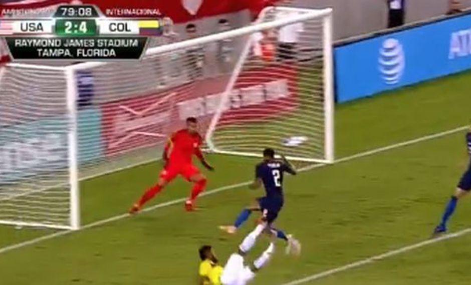 Miguel Borja puso el 4-2 en el Colombia-Estados Unidos por amistoso. (Captura: YouTube)