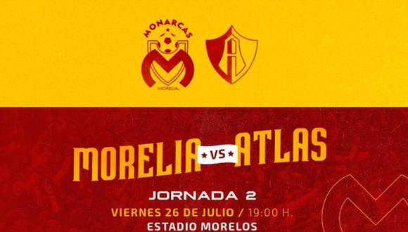 Monarcas Morelia vs. Atlas se miden por la fecha 2 de la Liga MX. (Foto: @FuerzaMonarca)