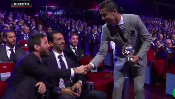 Messi y Buffon aceptaron con respeto la celebración de Cristiano Ronaldo como el mejor de la temporada cumplida.