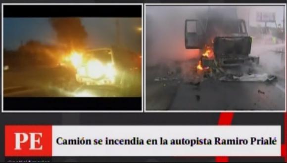 Camión se incendió en plena autopista Ramiro Prialé. (Captura)
